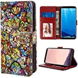 Wallet Case Compatible for Galaxy S8 (2017) [5.8 Version] Disney Stained Colorful Glass All Characters