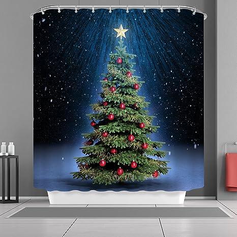 VANCAR Christmas Shower Curtain Winter Snow Snowflakes Tree With Ornaments Balls Xmas Merry Bath