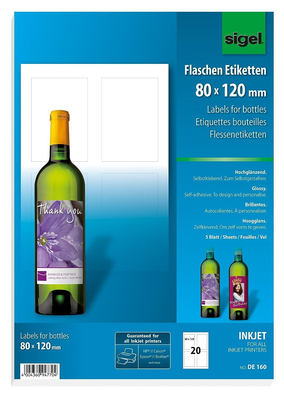 Sigel DE160 Flaschenetiketten, 20 Stück, hochweiß, für Ink (A4 ...