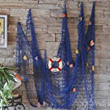 Decorative Fish Net with Bonus Lifebuoy and Seashells, Mediterranean Style Nautical Decor, Blue, 6'7 x 4'11 Large Size (200x150cm), Wall and Home Decor, Party Supplies, Wall Art