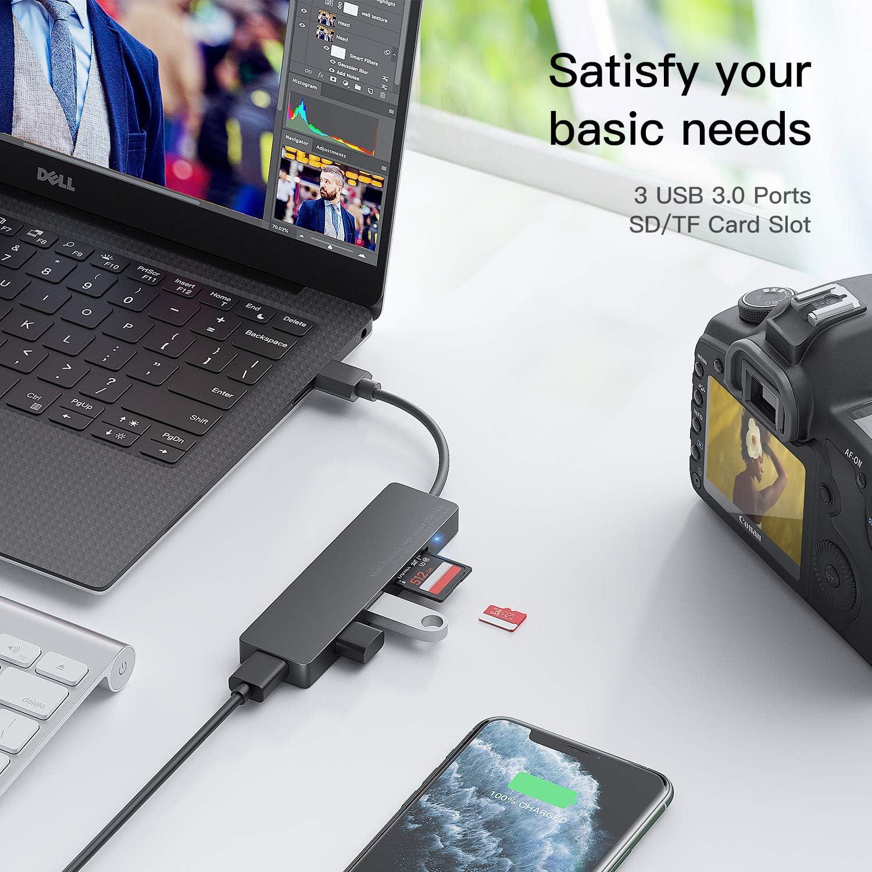 USB HUB 3.0 Mehrfachstecker Adapter Multiport USB Verteiler mit 4 USB 3.0 Splitter Port,SD//TF Card Reader Kompatibel mit MacBook Mini,iMac,Huawei MateBook,Windows Laptops und Ultrabooks,PC