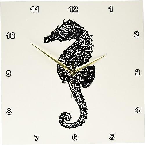 3dRose dpp_164955_2 Seahorse Vintage Black and White Illustration Ocean Aquarium Sea Horse-Wall Clock, 13 by 13-Inch