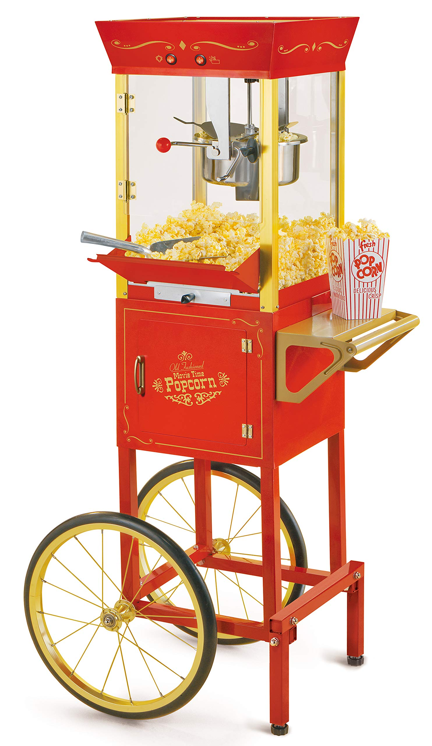 Nostalgia Concession CCP510 Vintage Professional Popcorn Cart-New 8-Ounce Kettle-53 Inches Tall-Red by NOSTALGIA