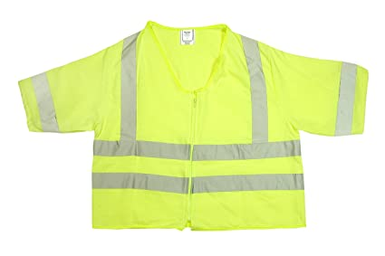 Lime Mutual Industries Inc 80061-0-102 Medium Mutual 80061 High Visibility Modacrylic ANSI Class 3 Durable Flame Retardant Solid Safety Vest with 2 FR Reflective Tapes