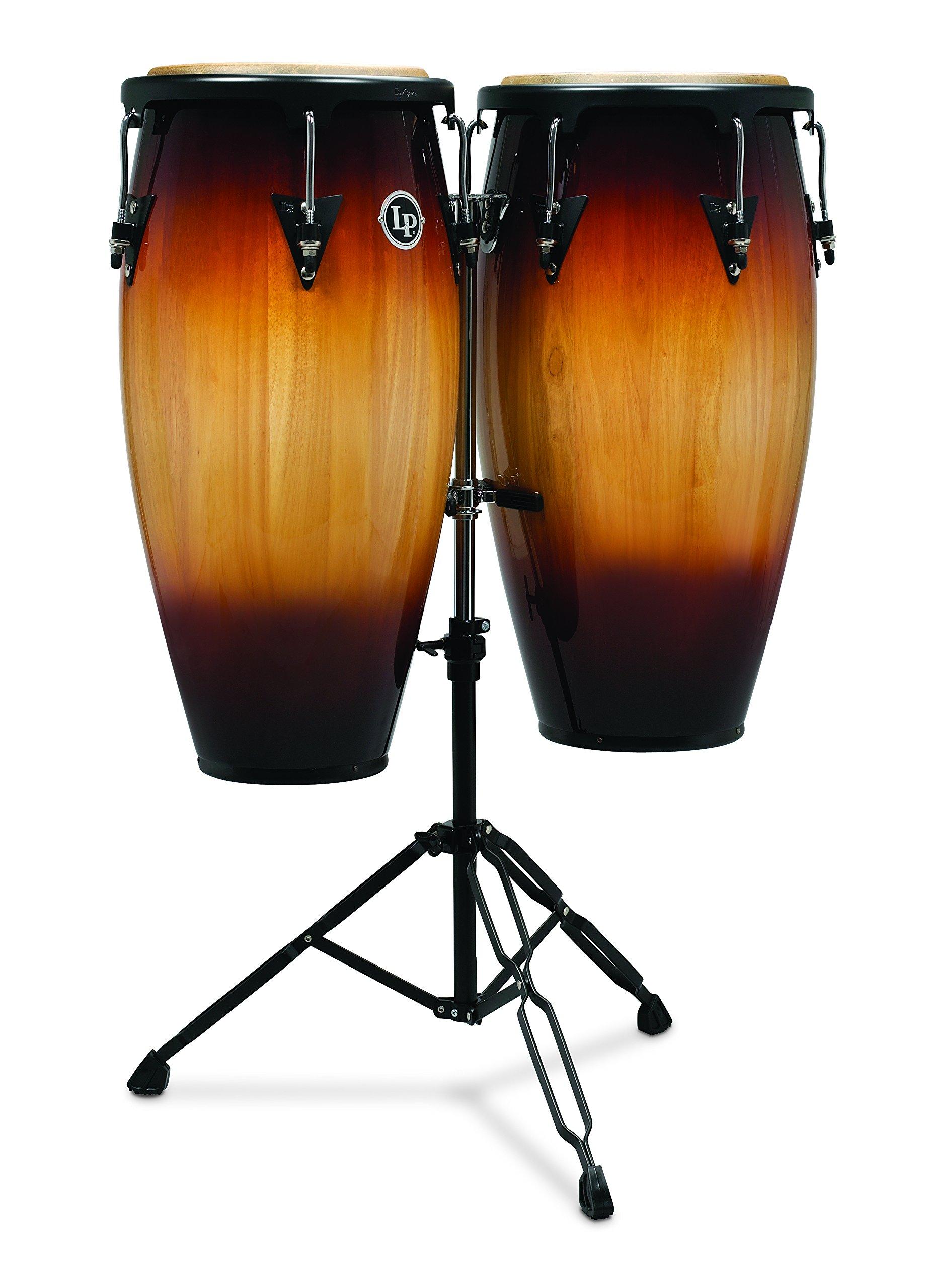 Latin Percussion LP Aspire Wood Congas 11'' & 12'' Set with Double Stand - Vintage Sunburst/Black