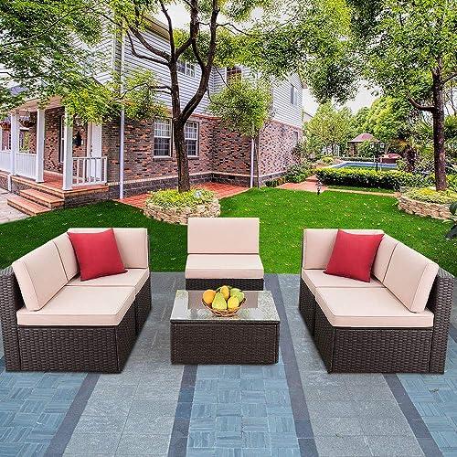 Devoko Patio Furniture Sets 6 Pieces Outdoor Sectional Rattan Sofa Manual Weaving Wicker Patio Conversation Set