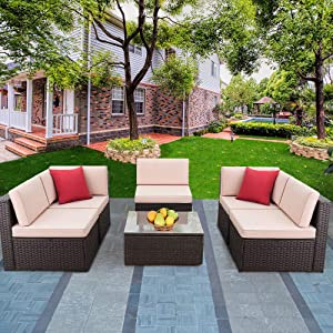 Devoko Patio Furniture Sets 6 Pieces Outdoor Sectional Rattan Sofa Manual Weaving Wicker Patio Conversation Set with Glass Table and Cushion (Beige)
