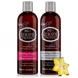 HASK KERATIN PROTEIN Shampoo and Conditioner Set Smoothing - Color safe, gluten-free, sulfate-free, paraben-free - 1 Shampoo and 1 Conditioner