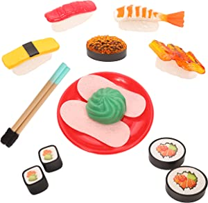IQ Toys Pretend Play Food Sushi in Japanese Style Bento Box with Chopsticks and Accessories 21 Piece Playset for Toddler Kids Girls and Boys