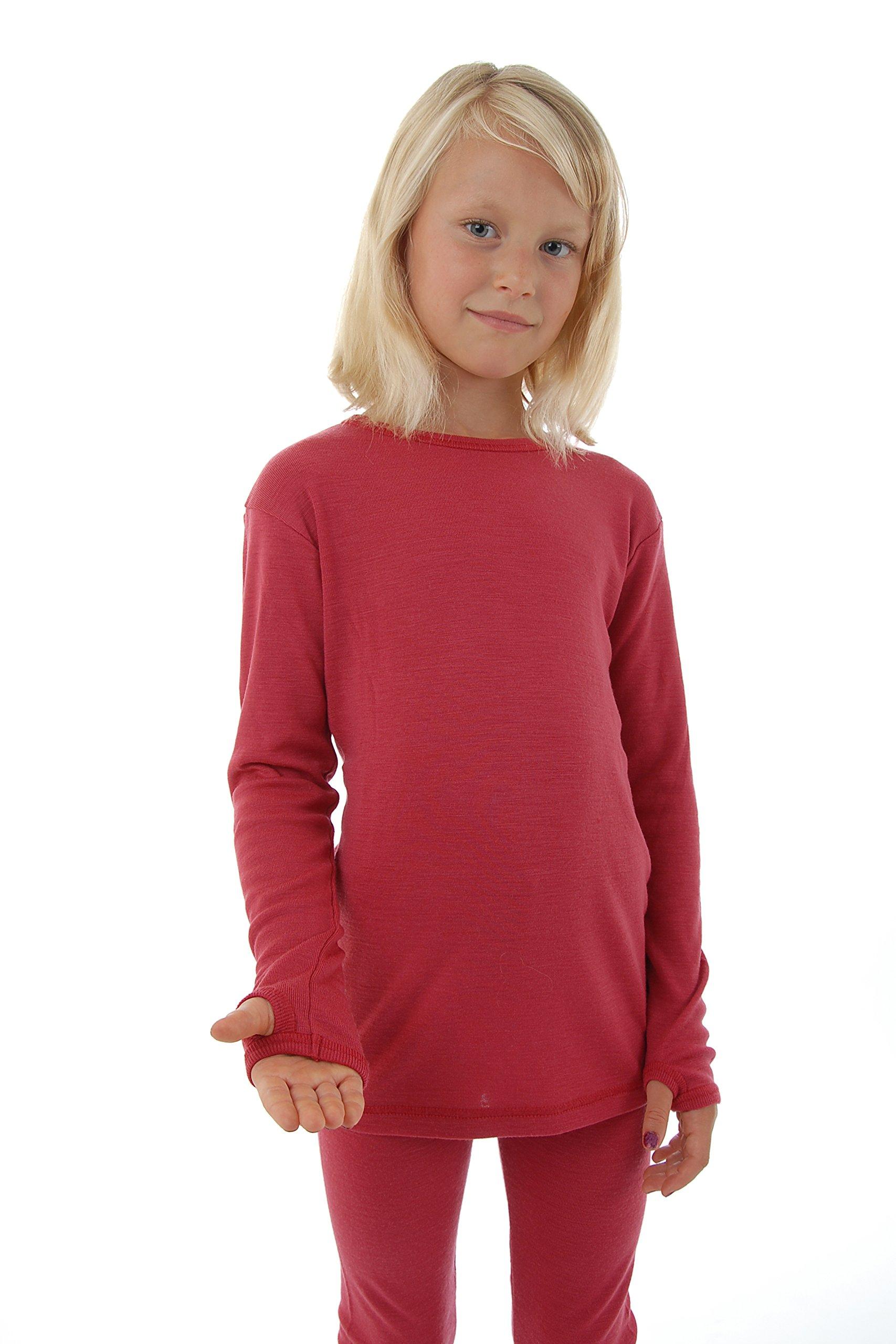 Pure Merino Wool Kids Thermal Top. Base layer Underwear Pajamas. BLUE 9-10 Yrs by Simply Merino (Image #4)