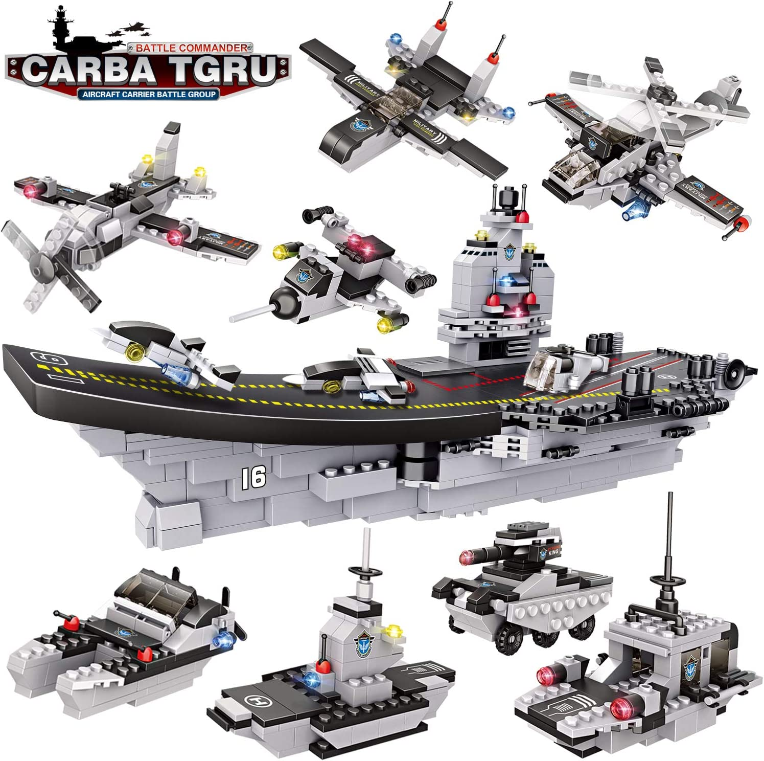 WishaLife City Police Giant Army Aircraft Carrier Battle Group Building Kit, Military Battleship Model Building Set with Solid Hull and Deck for Boys Girls 6-12 (1330 Pieces)
