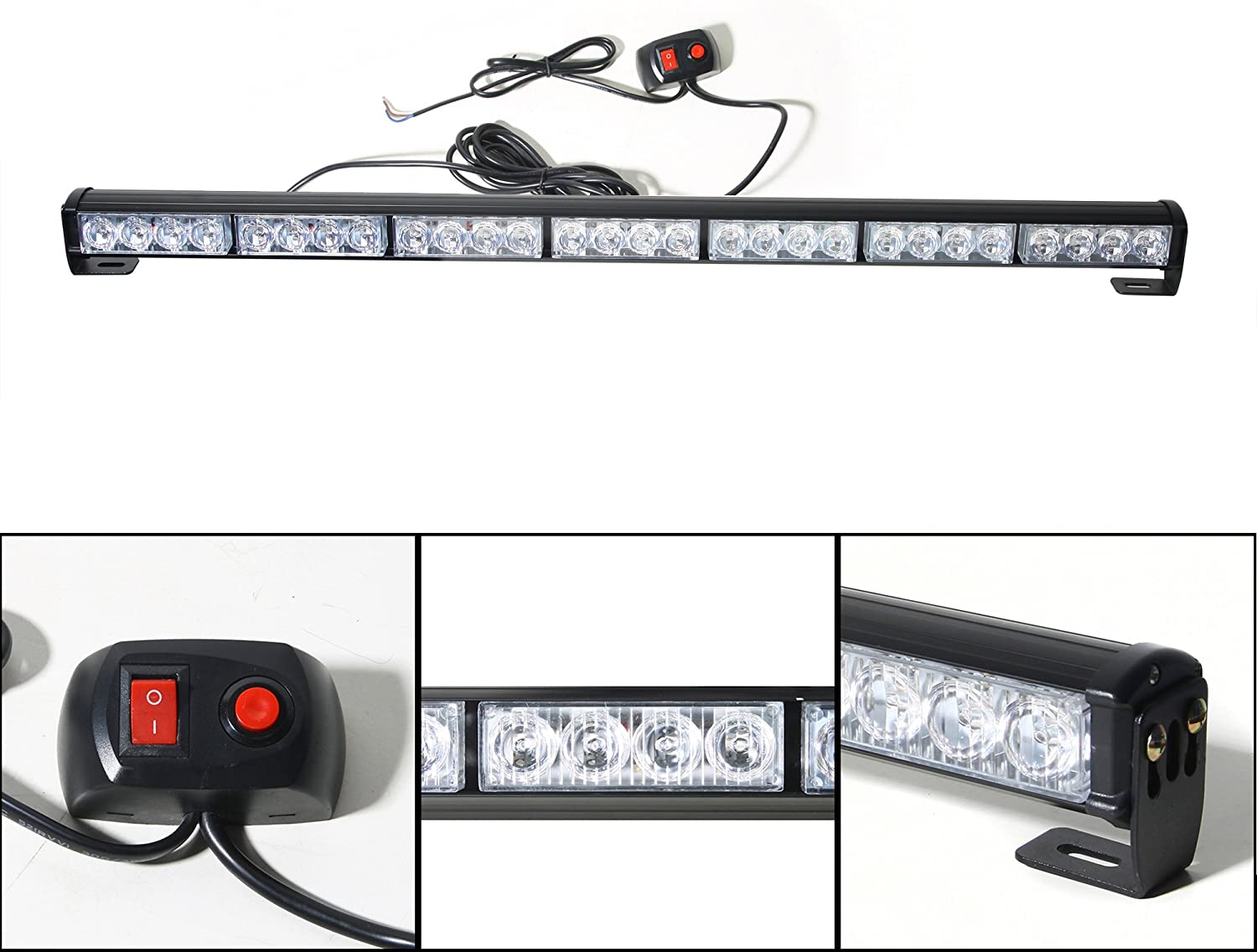 DIYAH 28 LED 31.5 Emergency Warning Traffic Advisor Vehicle Strobe Light Bar Amber//White
