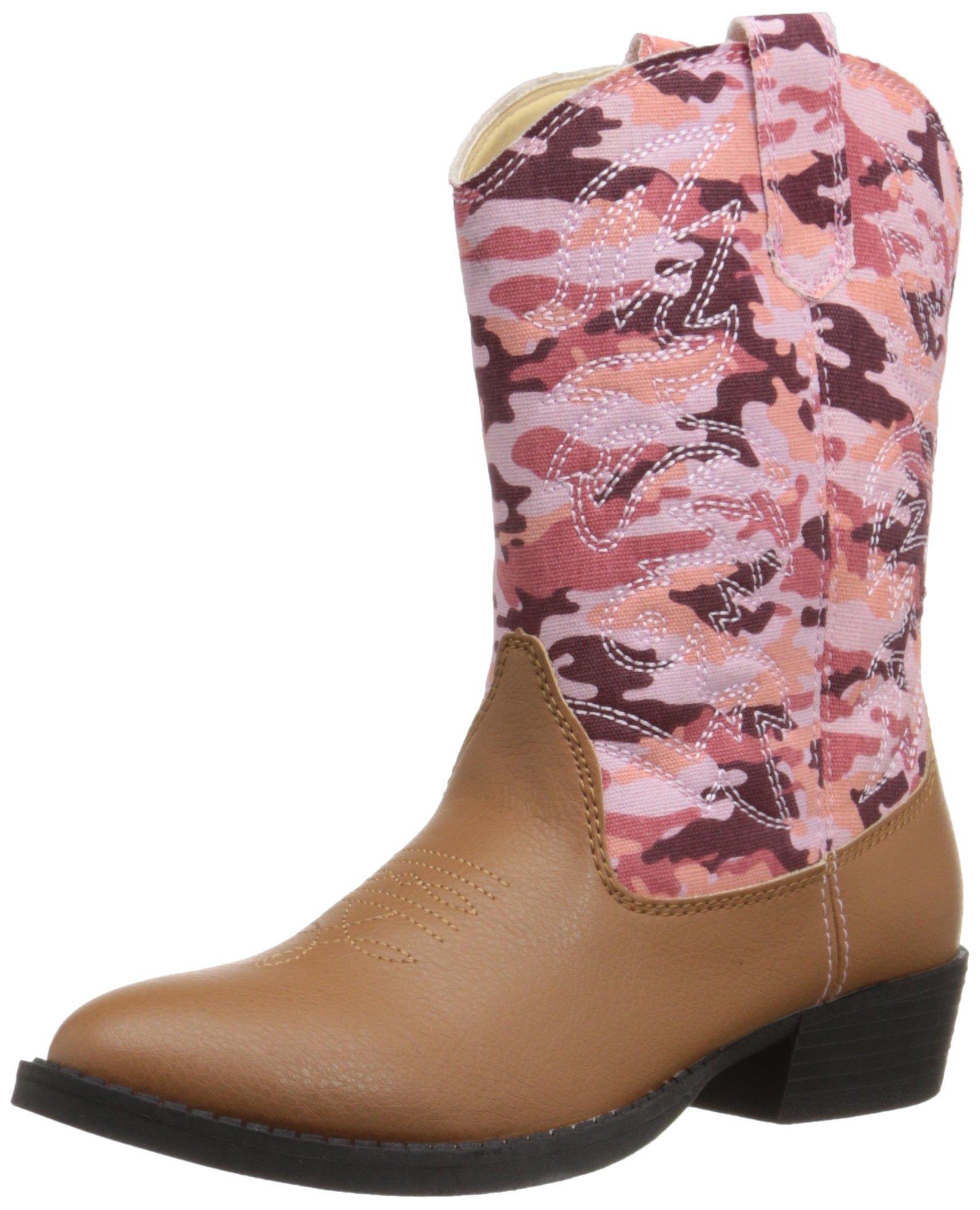 Deer Stags Ranch Cowboy Boot (Little Kid/Big Kid), Tan/Pink Camouflage, 1 M US Little Kid