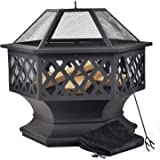 Leisure Zone Outdoor Large Fire Pit for Garden and Patio – Upgrade Black Steel Garden Heater/Burner for Wood & Charcoal; Includes Spark Guard, Poker and Protective Cover (Hexagonal Fire Pit)