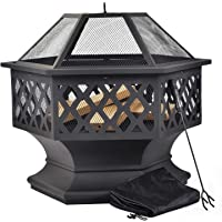 Leisure Zone Outdoor Large Fire Pit for Garden and Patio – Upgrade Black Steel Garden Heater/Burner for Wood & Charcoal; Includes Spark Guard, Poker and Protective Cover