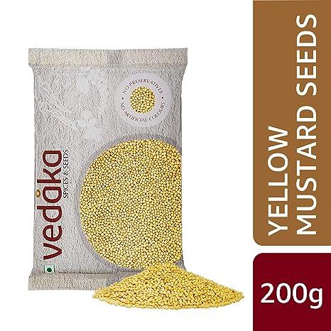 Amazon Brand - Vedaka Yellow Mustard Seeds, 200g