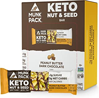 product image for Munk Pack Keto Nut & Seed Bar, 0g Sugar, 2g Net Carbs, Keto Snacks, No Added Sugar, Plant Based, Gluten Free, Soy Free (Peanut Butter Dark Chocolate 12 Pack)