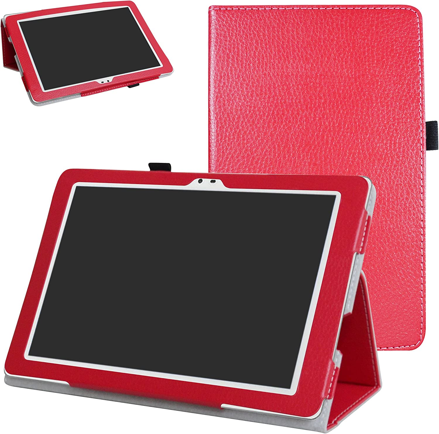 "Insignia Flex NS-P16AT10 10.1"" Tablet Case,Mama Mouth PU Leather Folio 2-Folding Stand Cover for 10.1"" Insignia Flex 10.1 NS-P16AT10 Tablet,Red"