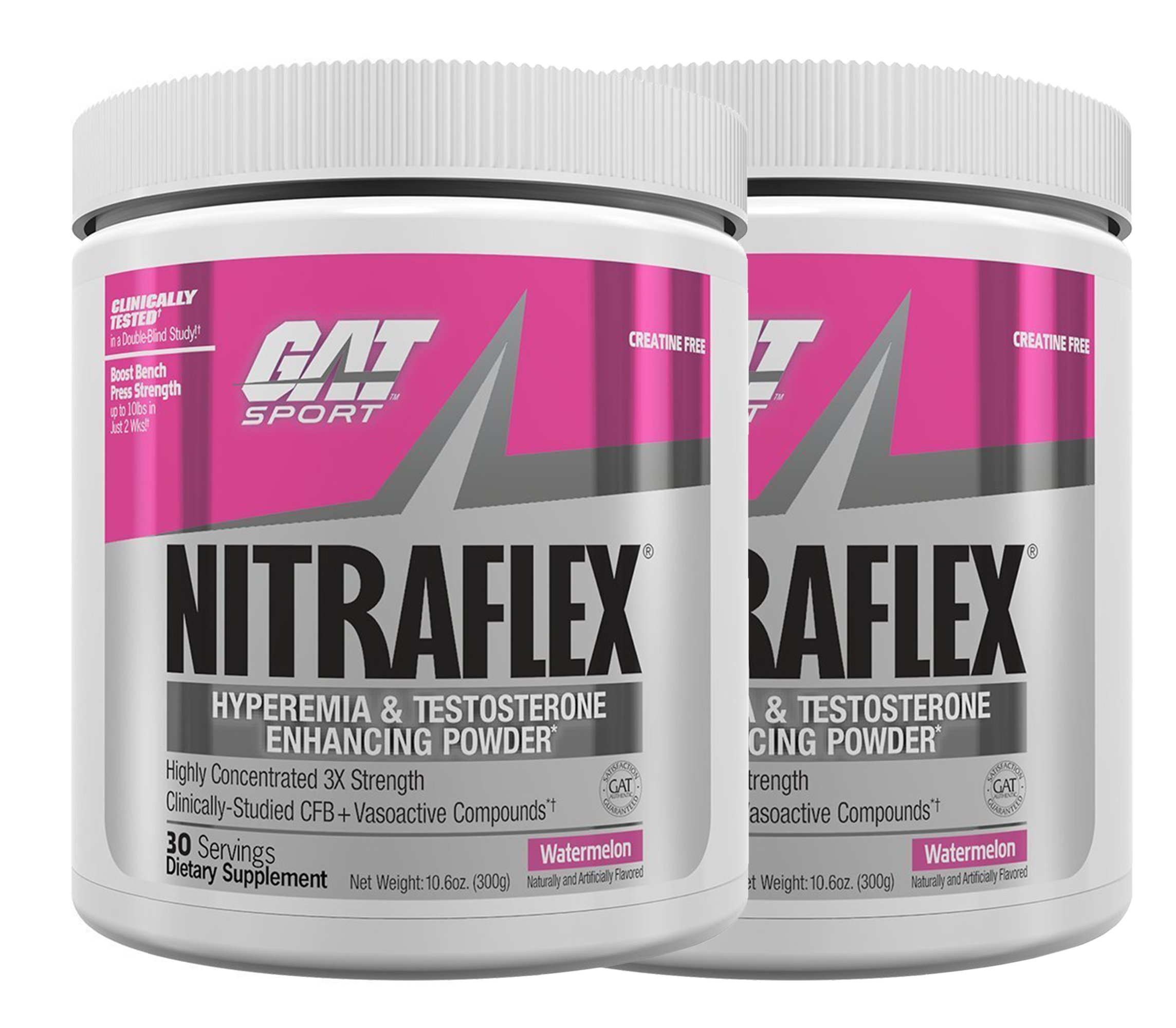 GAT Clinically Tested Nitraflex, Testosterone Enhancing Pre Workout, Watermelon (2 x 300 Gram)