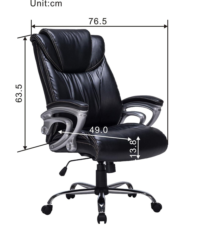 VIVA OFFICE Silla ergonómica de Cuero regenerado de Respaldo Alto de Oficina con apoyabrazos y apoyacabezas Acolchados