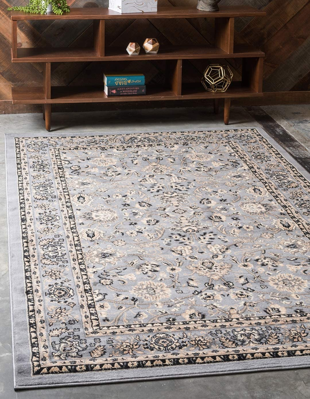 Unique Loom Kashan Collection Traditional Floral Overall Pattern with Border Gray Area Rug (5' 0 x 8' 0)