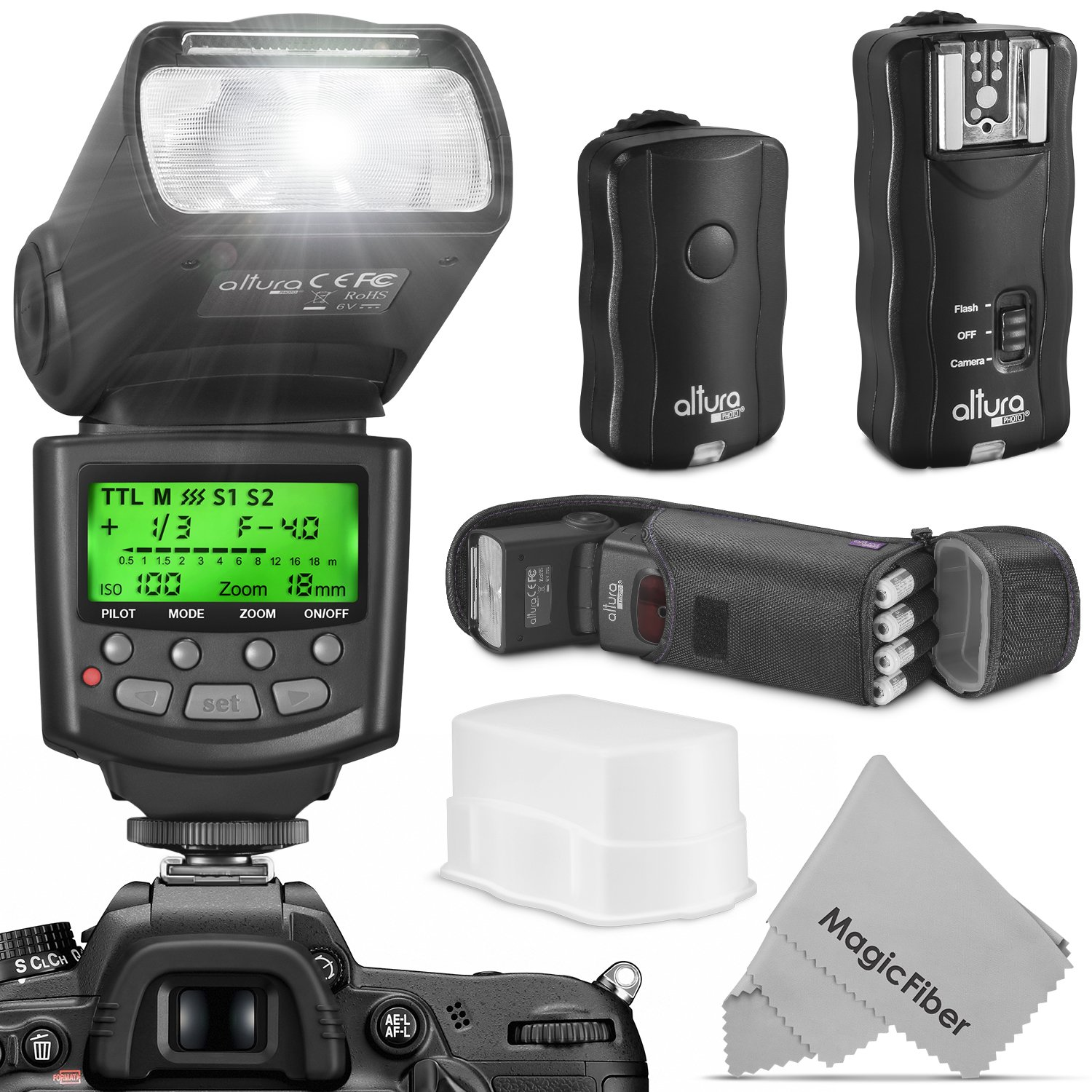 Altura Photo Professional Flash Kit for NIKON DSLR - Includes: I-TTL Flash (AP-N1001), Wireless Flash Trigger Set and Accessories by Altura Photo