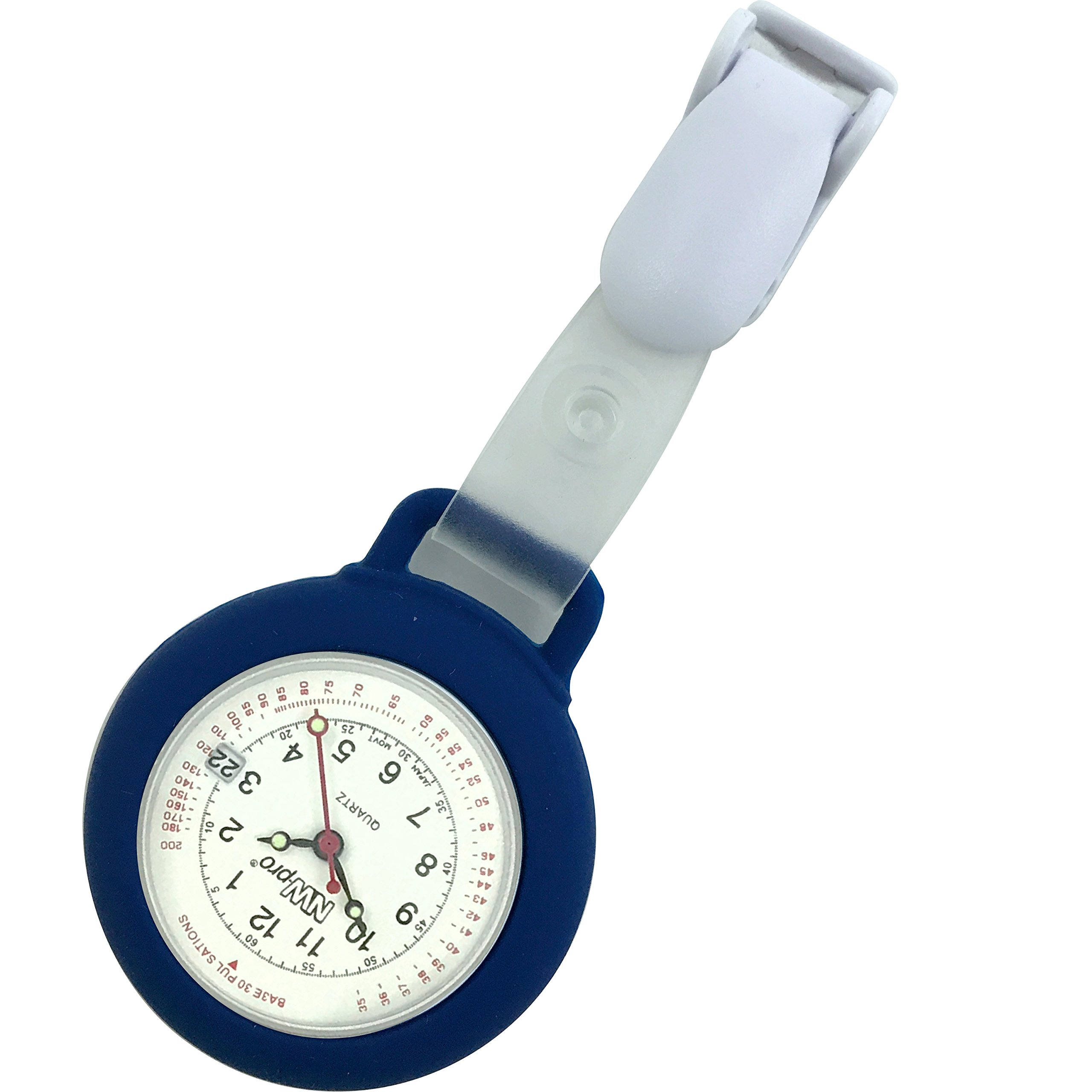 Nurse Watch - Clip-on Silicone (Infection Control) with Date - Navy