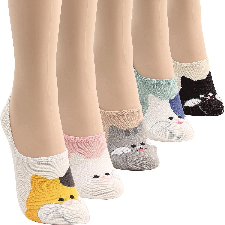 WOWFOOT Women Animal Design No-Show Casual Liner Socks Character Print Non Slip Flat Boat Line 4 Pair nsss-bk-vv-06