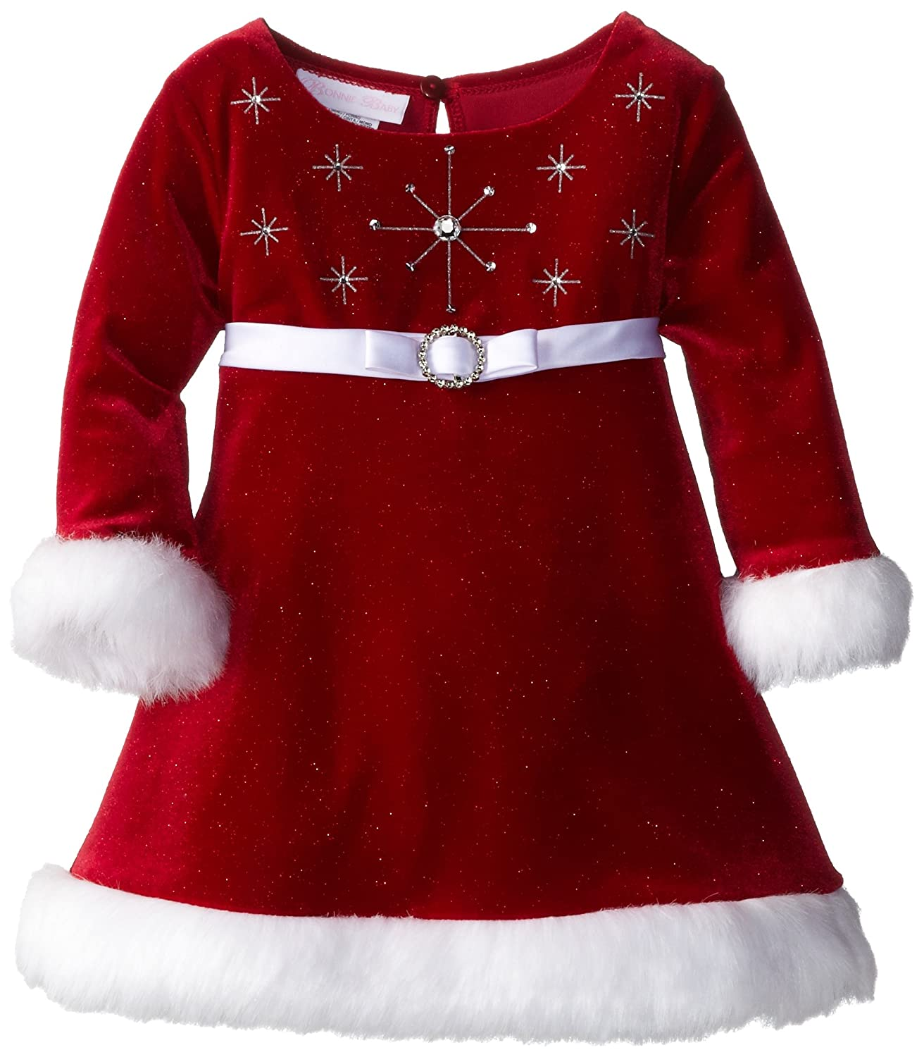 Amazon Bonnie Baby Baby Girls Stretch Velvet Santa Dress Red