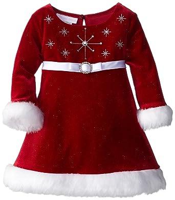 6fd3e097c Amazon.com: Bonnie Baby Baby Girls' Stretch Velvet Santa Dress Red ...