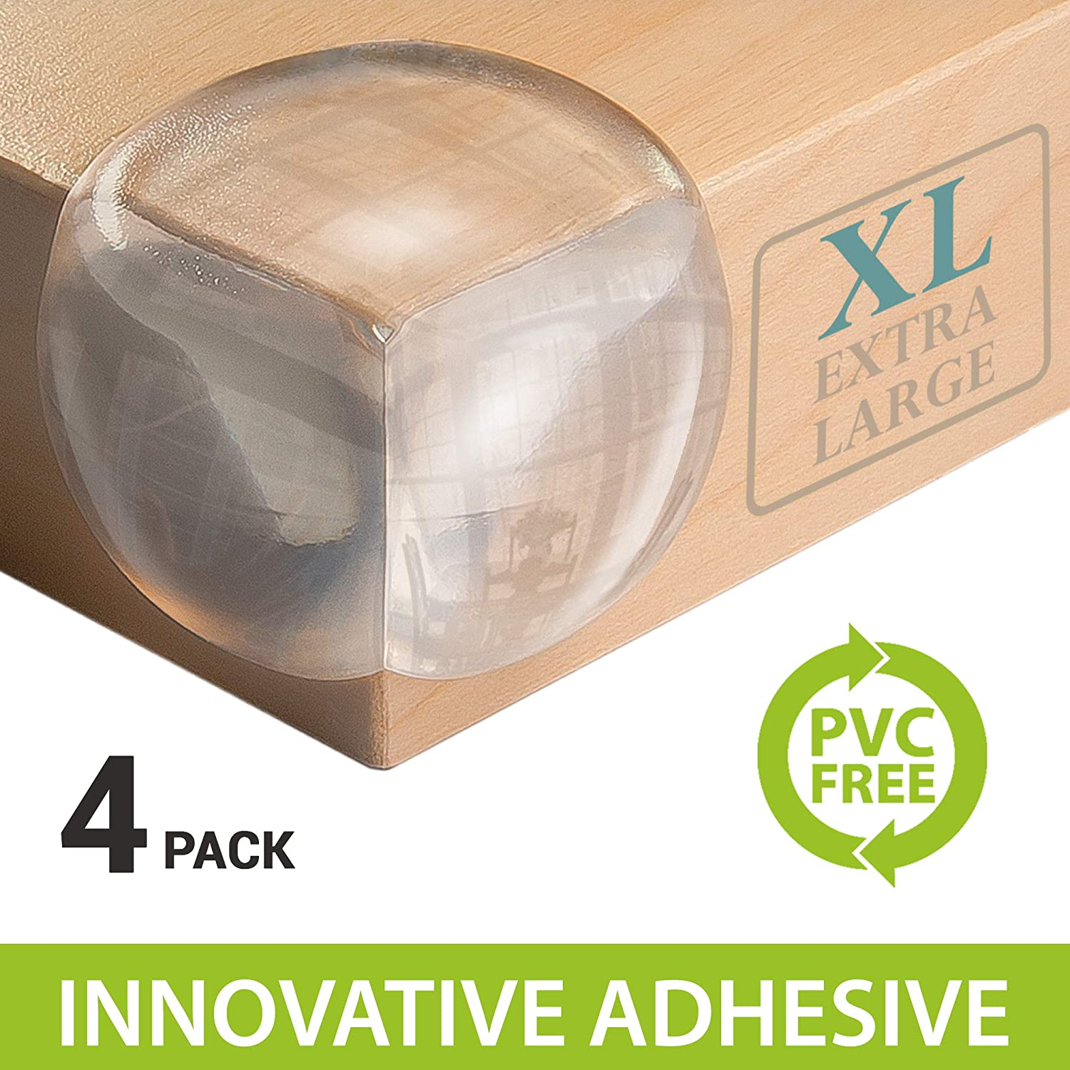 Extra Large for Safety Aesthetically Clear 4 Pack 200/% Softer Material Corner Guards Innovative PVC Free- Baby Proofing Toddler Friendly X5 More Adhesive Power Pre-Applied