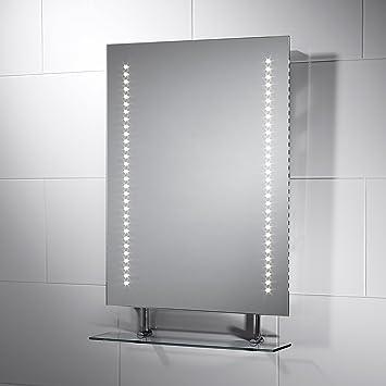 Pebble Grey Rectangular Belice LED Illuminated Bathroom Mirror With Lights Size 450mmW