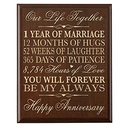 Amazon.com: 1st Wedding Anniversary Wall Plaque Gifts for Couple ...