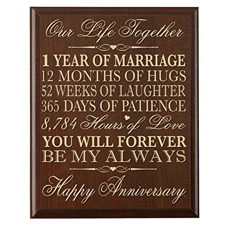 1st Wedding Anniversary Wall Plaque Gifts For Couple Her1st