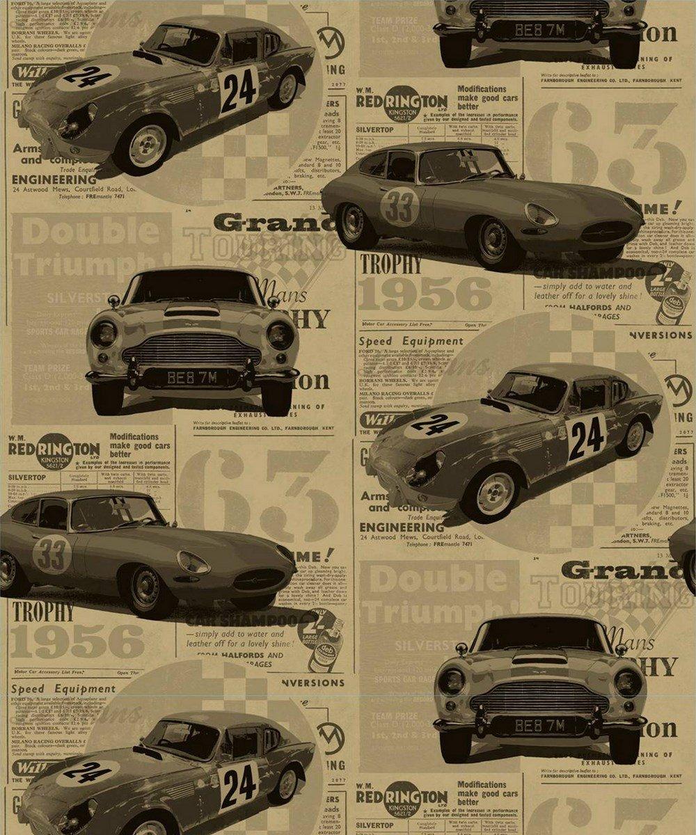 Brewster Fd40392 Vintage Cars Wallpaper Gold