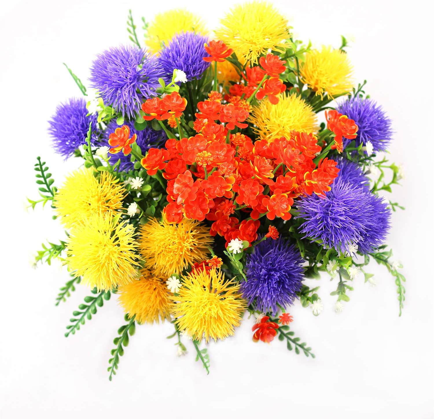 6 Pcs Artificial Flowers, Fake Orange Daffodils Flowers, Fake Yellow Hydrangea Flowers, Faux Purple Gypsophila Flowers 2pcs each for Indoor Outside Hanging Planter Home Kitchen Office Wedding Decor
