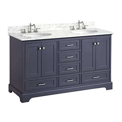 Harper 60 Inch Double Bathroom Vanity (Carrara/Charcoal Gray): Includes  Authentic