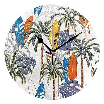 SUNOP Reloj para niños con impresión de Aceite, 1 Tabla de Surf de Palmeras Tropicales