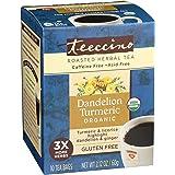 Teeccino Organic Dandelion Turmeric Chicory Herbal 10 Teabags, 10 Count