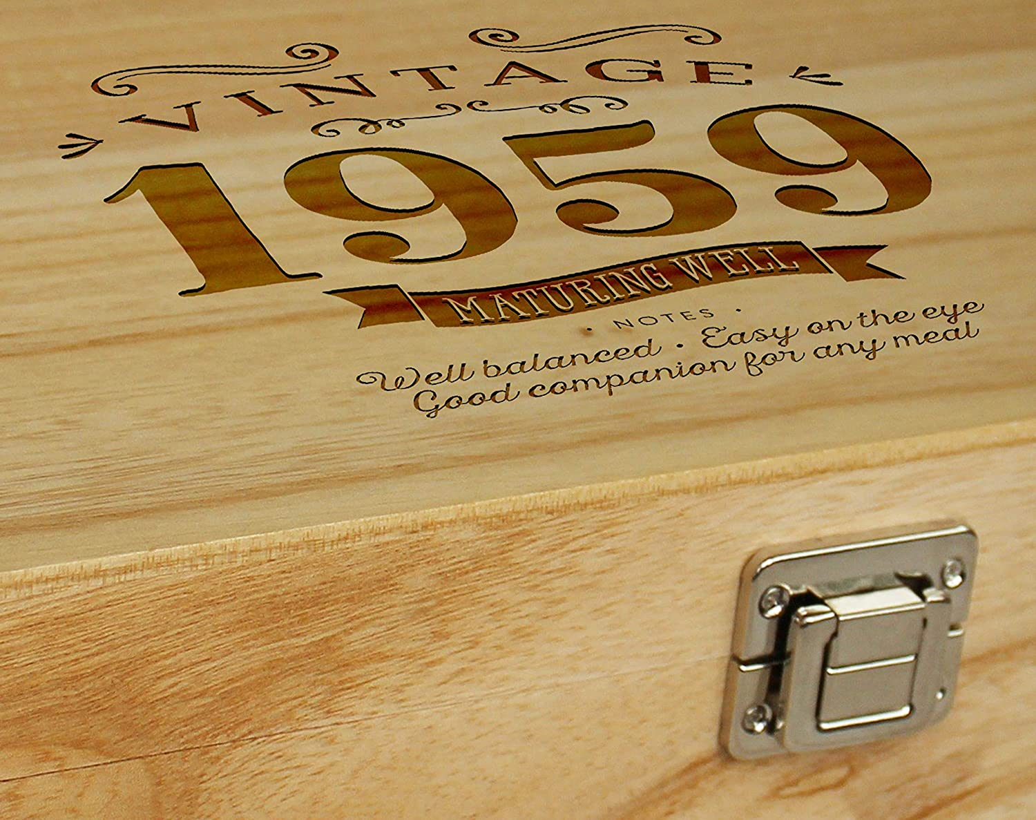 60th Birthday 1959 Vintage Wine Box Gift Idea for 60 Year Old Holds 2 Standard Wine Bottles