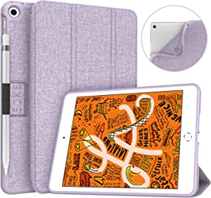 Soke iPad Mini 5 Case 2019 with Pencil Holder, Premium Trifold Case with Strong Protection, Ultra Slim Soft TPU Back Cover with Auto Sleep/Wake Function for Apple iPad Mini 5th Gen,Violet