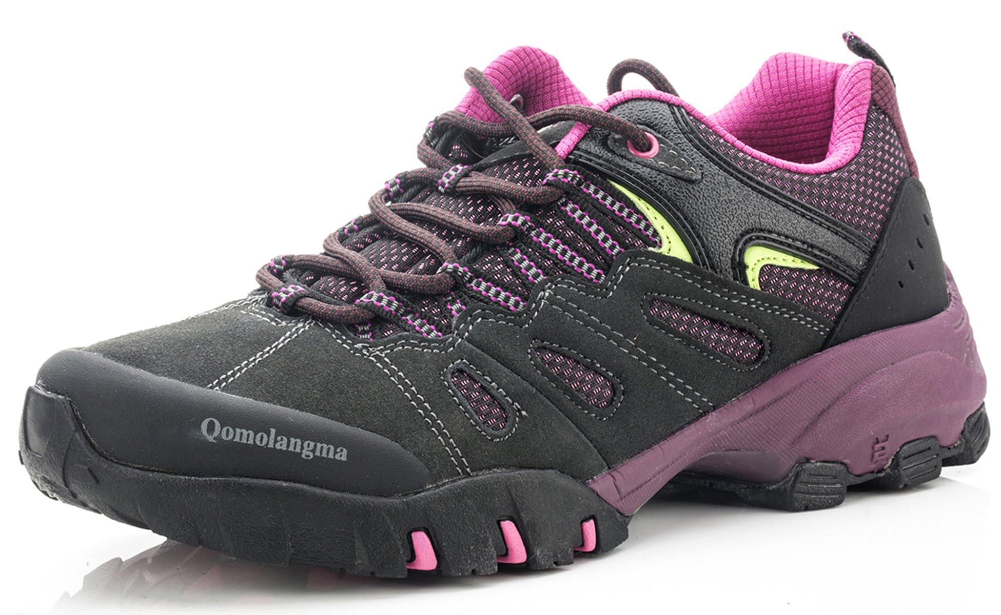 QOMOLANGMA Women's Hiking Shoes Skid-proof Walking Sneaker for Running Trekking Outdoor Training, Grey/Purple, 8 B(M) US by QOMOLANGMA