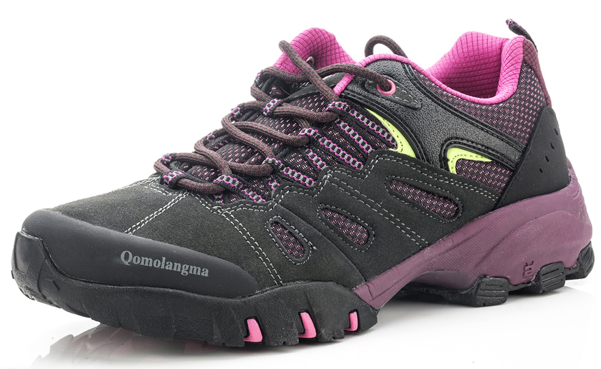 QOMOLANGMA Women's Hiking Shoes Skid-Proof Walking Sneaker For Running Trekking Outdoor Training Grey/Purple 8.5