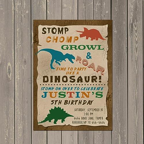 Dinosaur Trex Birthday Party Invitation Set Of 10 Invitations With White Envelopes