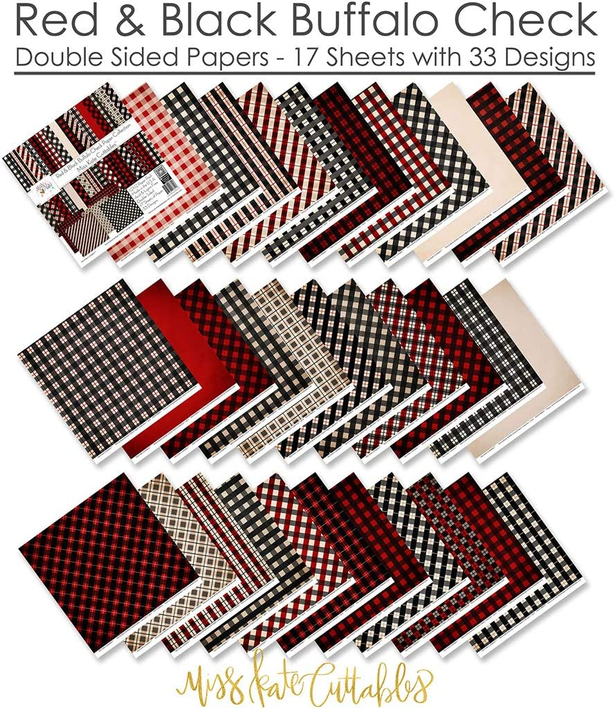 Pattern Paper Pack by Miss Kate Cuttables 17 Double-Sided 12x12 Collection Includes 34 Patterns Scrapbooking Card Making Crafting Red /& Black Buffalo Check