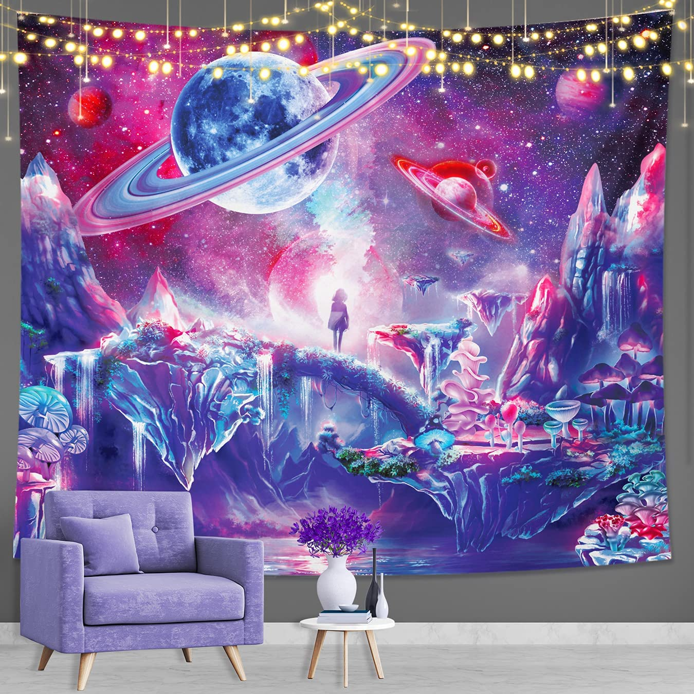 DESIHOM Purple Galaxy Tapestry Trippy Tapestry Space Tapestry Universe Tapestry Glow in the Dark Tapestry Poster Psychedelic Tapestry Wall Tapestry for Bedroom Living Room Dorm Decor 59x51 Inch