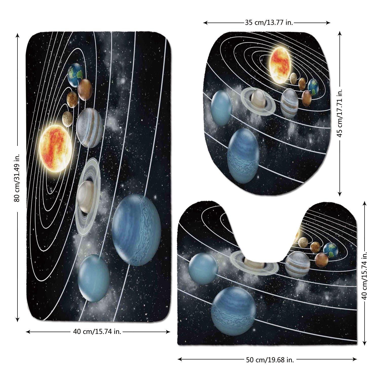 3 Piece Bathroom Mat Set,Galaxy,Solar-System-All-Eight-Planets-and-the-Sun-Pluto-Jupiter-Mars-Venus-Science-Fiction,Black-Grey.jpg,Bath Mat,Bathroom Carpet Rug,Non-Slip
