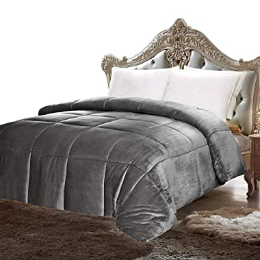 Utopia Bedding Comforter Sherpa Flannel - All Season - Machine Washable - Luxury Goose Down Alternative - Reversible - Ultra Soft - Box Stitched (Queen)