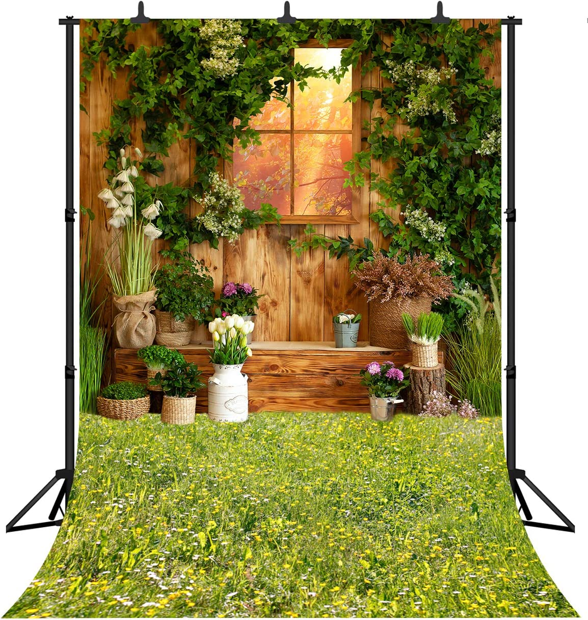 DePhoto Green Leaves Wooden Window Photography Backdrop Nature Scenery Flower Garden Birthday Party Wedding Portrait Video Photo Background Photo Studio PGT620A 5x7ft