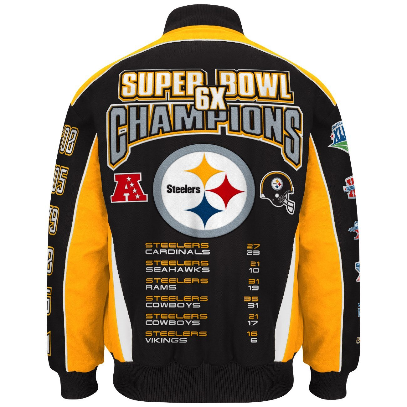 12a68c6ab Amazon.com   NFL Men s Pittsburgh Steelers 6 Time Super Bowl Champion  Cotton   Twill Jacket (6XL)   Sports   Outdoors